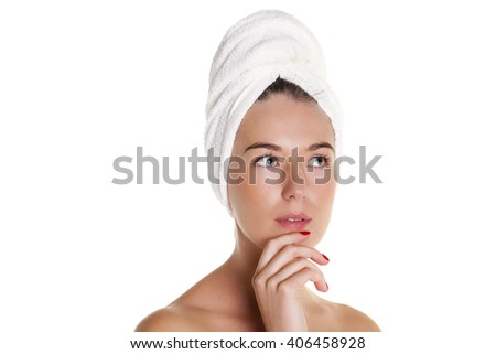 Beautiful Happy Spa Girl Isolated on a White Background. Happy Woman after Bath with Clean Perfect Skin