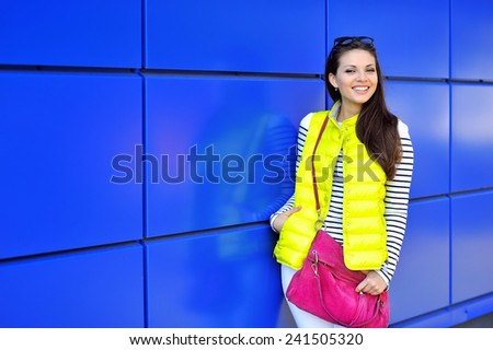 Beautiful happy stylish young girl portrait outdoor  - stock photo