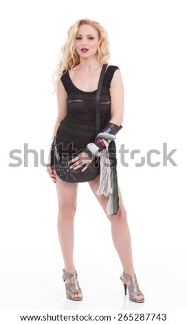 Beautiful happy woman holding a bag on a white background