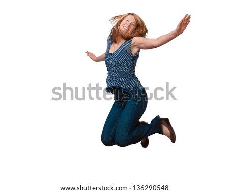 Beautiful happy woman jumping isolated on white background