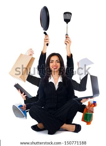 Beautiful happy woman sitting and multitasking - isolated on white. - stock photo
