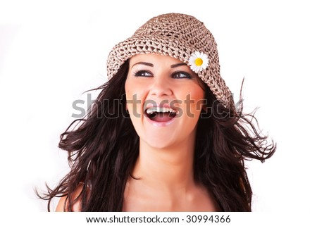 beautiful happy woman with dark hair