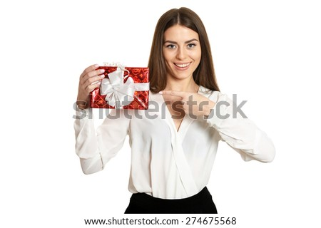 Beautiful happy woman with gift box on white background - stock photo