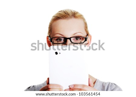 Beautiful happy young blond caucasian woman using tablet computer , isolated on white - stock photo