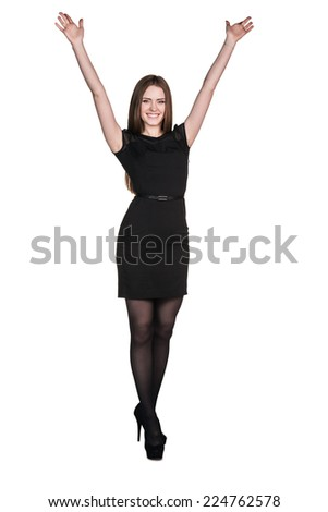 Beautiful happy young business woman isolated on white background - stock photo