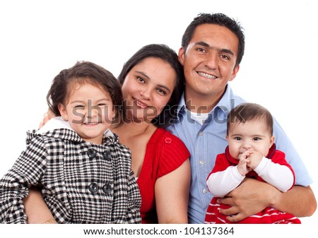 Beautiful Happy young family over white - stock photo