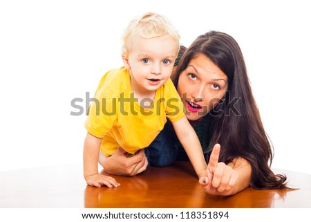Beautiful happy young woman and cute child boy, isolated on white background. - stock photo