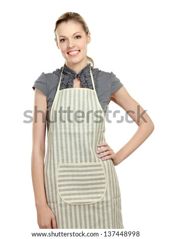 Beautiful happy young woman wearing kitchen apron , isolated on white background - stock photo