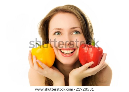beautiful happy young woman with colorful peppers