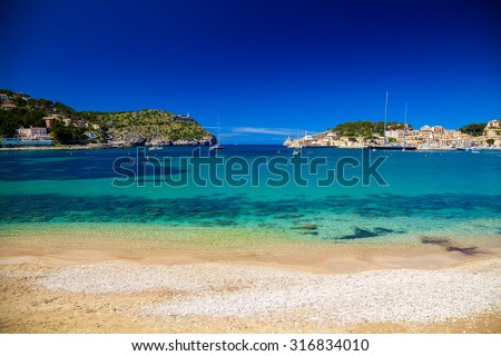 beautiful harbour of Port de Soller, Mallorca, Spain - stock photo