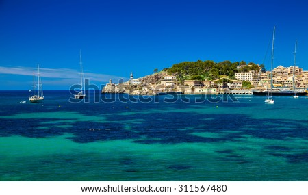 beautiful harbour with lighthouse and yachts, Port de Soller, Mallorca, Spain - stock photo
