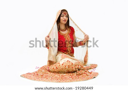 beautiful harem girl or belly dancer or Hindu bride sitting, isolated - stock photo