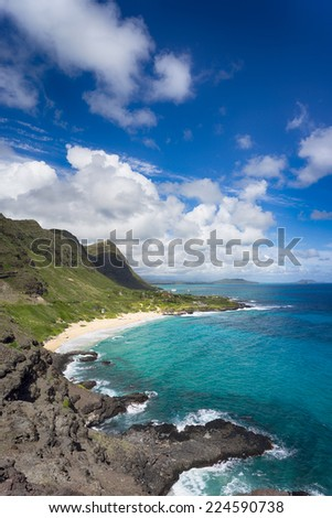 Beautiful Hawaii coastline - stock photo