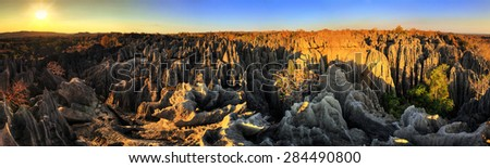 Beautiful HDR panorama of the unique geography at the Tsingy de Bemaraha Strict Nature Reserve in Madagascar - stock photo