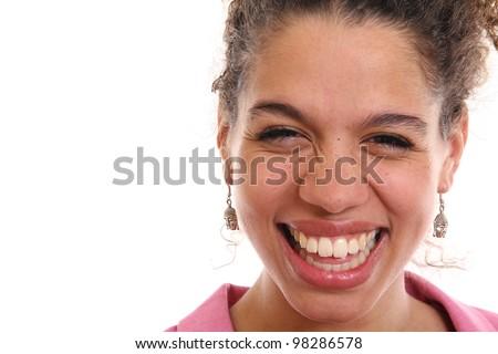 Beautiful head shot of a smiling woman - stock photo
