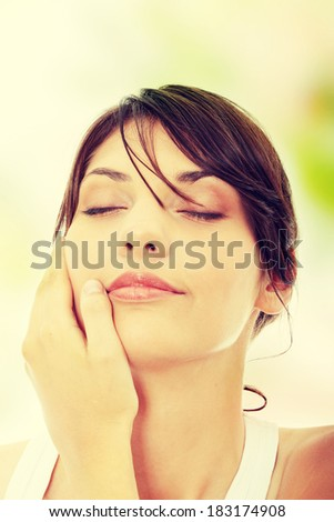 Beautiful health woman face with clean purity skin - stock photo