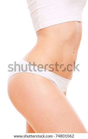 beautiful healthy woman's body in white underwear