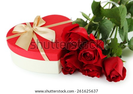 Beautiful heart gift box on white background