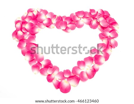beautiful heart of red rose petals on white background