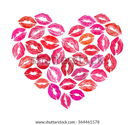 Beautiful heart shape made with colourful lips - stock photo