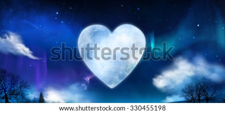 Beautiful heart shaped moon in the night with shiny stars and aurora