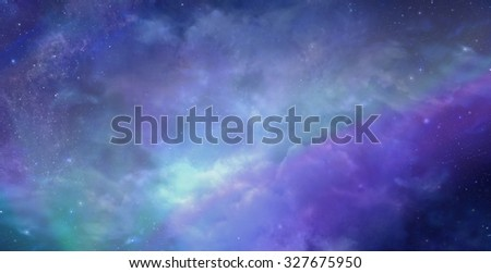 Beautiful Heavens Above background -  Deep space wide blue banner showing cloud formation, planets, stars and ethereal coloring - stock photo