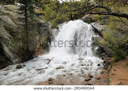 Beautiful Helen Hunt Falls in North Cheyenne Canyon, Colorado Springs, Colorado - stock photo