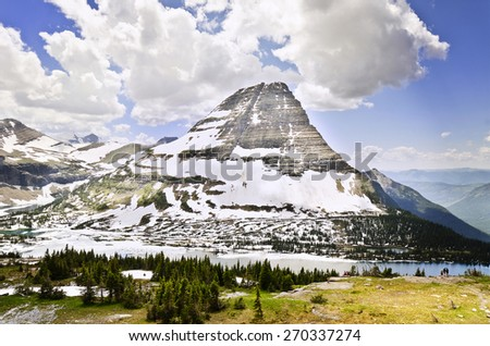 Beautiful hidden lake at glacier national park - stock photo