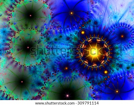Beautiful high resolution abstract flower and star background in dark vivid blue,yellow,pink,green