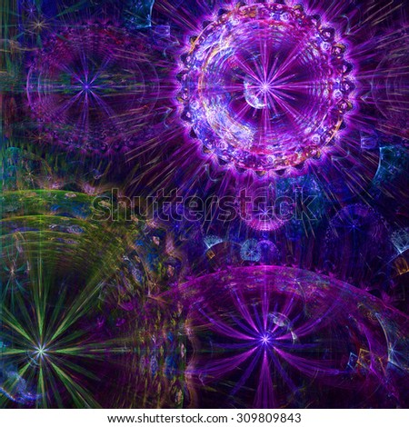 Beautiful high resolution abstract flower and star background with four large stars (flowers) with decorative rings, all in glowing pink,purple,green
