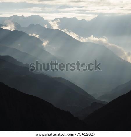 Beautiful Himalayan mountain and intense lights, Nepal - stock photo