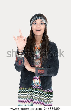 Beautiful hippie girl posing - stock photo