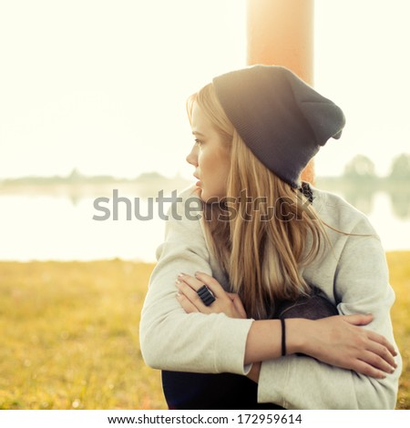 beautiful hipster girl - stock photo