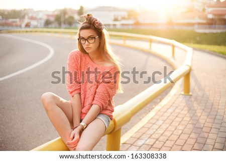 beautiful hipster girl in the morning in the city - stock photo