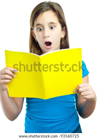 Beautiful hispanic girl reading a book with a surprised expression isolated on white