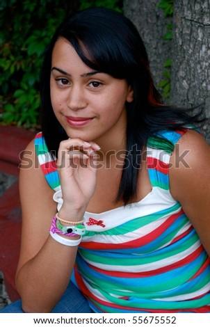 Beautiful Hispanic High School Student - stock photo