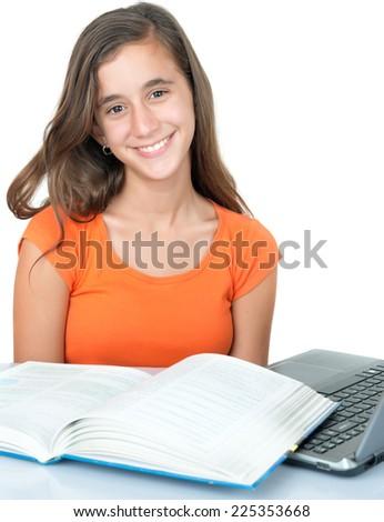 Beautiful hispanic teenage  girl studying and smiling isolated on white - stock photo
