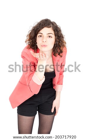 Beautiful Hispanic woman doing different expressions in different sets of clothes: be quiet