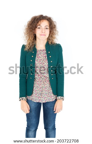 Beautiful Hispanic woman doing different expressions in different sets of clothes: portrait - stock photo