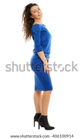 Beautiful hispanic woman in blue dress full length on white - stock photo