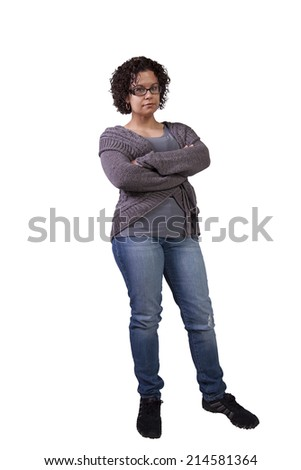 Beautiful Hispanic Woman Posing with her arms crossed - stock photo