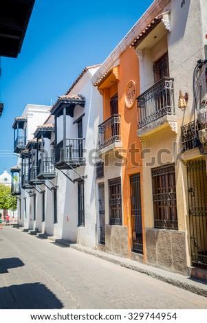 Beautiful historic center in Santa Marta, popular caribbean destination in northern Colombia. - stock photo