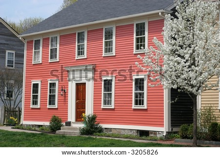 beautiful historic home in Wickford,RI - stock photo