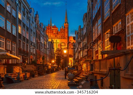 Beautiful historic houses on Mariacka, St Mary, street in Gdansk Old Town, Poland - stock photo