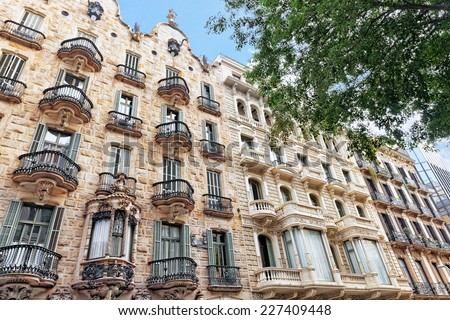 Beautiful historical landscape of the urban view Barcelona, Catalonia, Spain. - stock photo