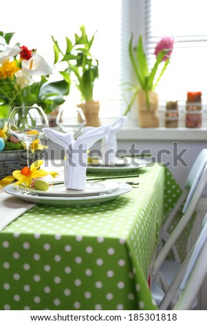Beautiful holiday Easter table setting  - stock photo