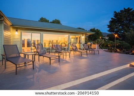 Beautiful home at sunset - stock photo