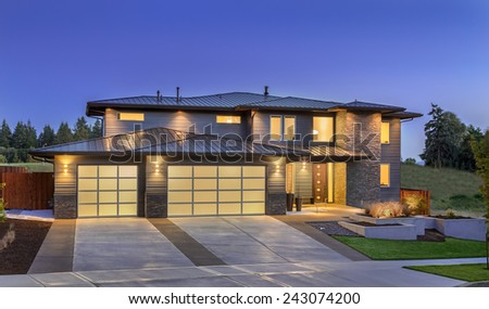 Beautiful Home Exterior at Twilight - stock photo