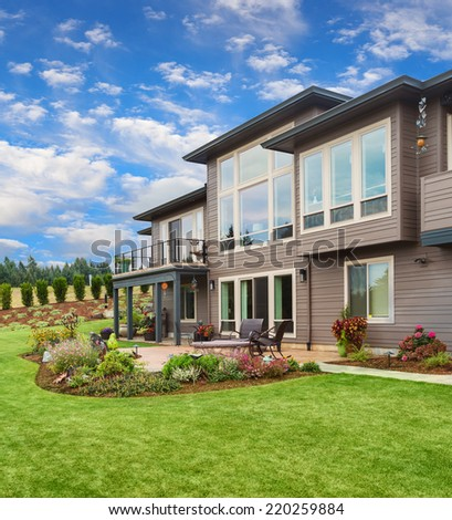 Beautiful Home Exterior on Sunny Day - stock photo