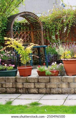 beautiful home garden design - stock photo